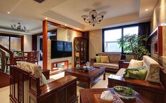 中式电视背景墙造也能做成隔断式