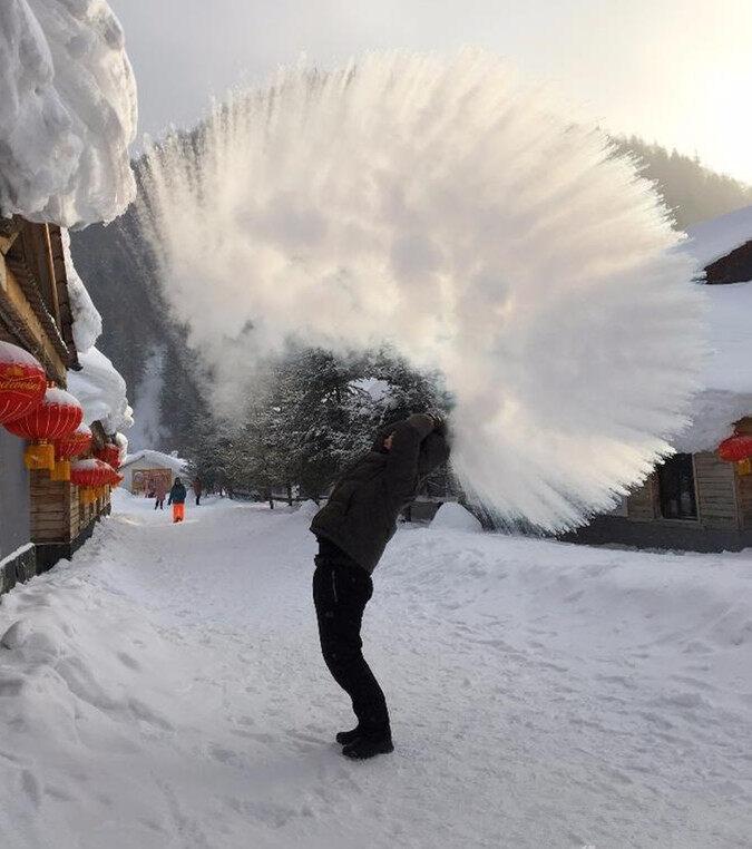 好美啊!惠阳妹子在东北,体验不一样的冬天