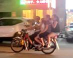 有点东西,一辆摩托车载了五个人