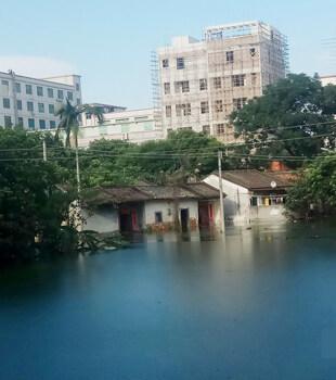 大雨過后,仲愷幾戶人家的房子浸水了……