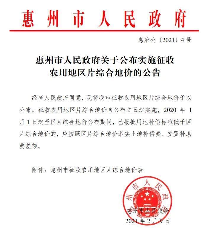 最高8.48万/亩!惠州征收农用地地价出台