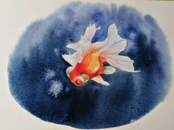 噫唏嘘!有位姑娘用水彩画出栩栩如生的金鱼